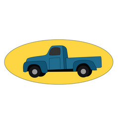 blue pickup on white background vector image