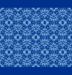 Bohemian patterned fabric indigo dyed ikat vector