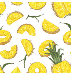 botanical seamless pattern with ripe pineapple vector image