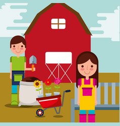 Boy and girl gardeners vector