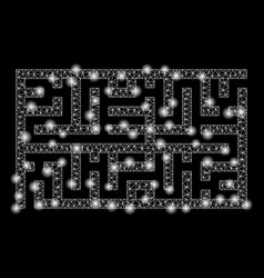 bright mesh 2d labyrinth with flare spots vector image