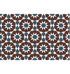 Brown and blue moroccan motif tile pattern vector
