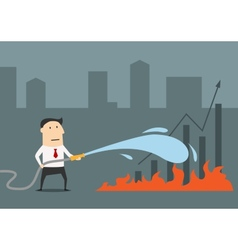 Businessman fighting with fire of economical vector