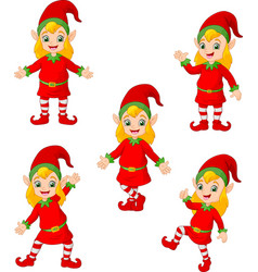 Cartoon christmas elves in different poses and act vector