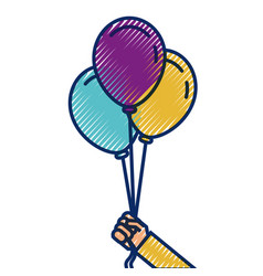 cartoon hand holding three balloons celebration vector image