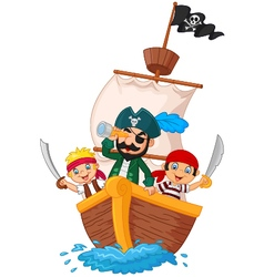 Cartoon little pirate was surfing the ocean vector