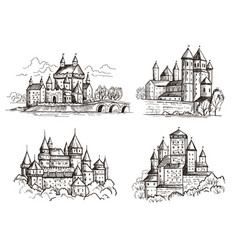 castles medieval buildings for knights czech vector image