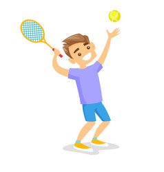 caucasian white tennis player playing tennis vector image