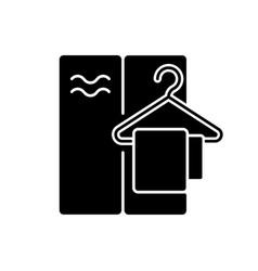 Changing cabin black glyph icon vector