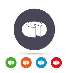 Cheese wheel sign icon sliced cheese vector