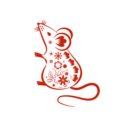 chinese mouse in traditional paper cut style vector image