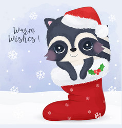 christmas greeting card with raccoon vector image