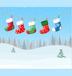 Christmas stockings for presents vector
