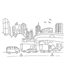 City panorama with road transport and skyscrapers vector