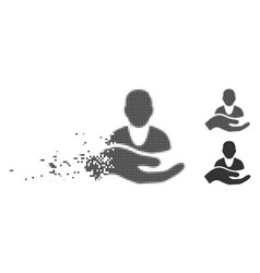 client care hand dissolved pixel halftone icon vector image