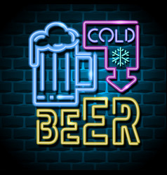cold beer neon advertising sign vector image