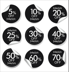 collection of black discount offer price labels vector image