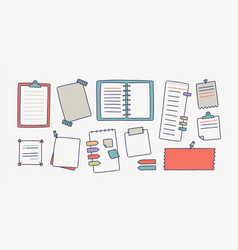 collection of notebooks and paper attached with vector image