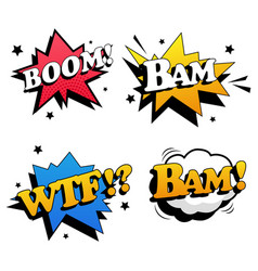 Comic book lettering collection on white vector