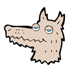 comic cartoon wolf head vector image