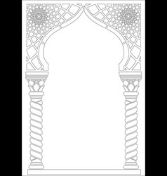 Contouring coloring of arabic style arch vector