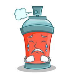 crying aerosol spray can character cartoon vector image