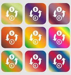 Currency exchange icon Nine buttons with bright vector image