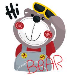 cute cartoon bear saying hi vector image
