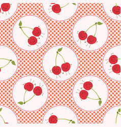 cute cherry polka dot vector image
