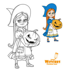 cute girl in witch costume holding a large vector image