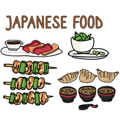 Cute selection japanese food vector