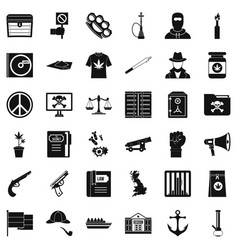 danger crime icons set simple style vector image vector image