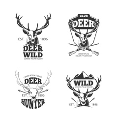 Deer head retro badges labels logos vector