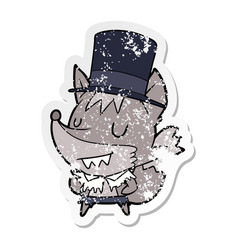 Distressed sticker of a cartoon posh werewolf vector