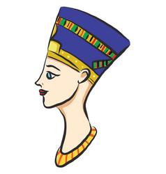 egyptian queen nefertiti on white background vector image