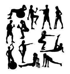 Elegant women silhouette doing fitness exercise vector