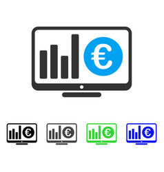Euro market monitoring flat icon vector