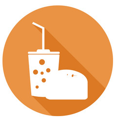 fast food icon with a long shadow vector image
