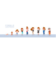 female from child to old isolated cartoon in flat vector image