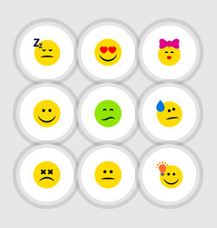 Flat icon face set of frown love joy and other vector