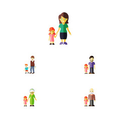 Flat icon family set of father mother grandpa vector