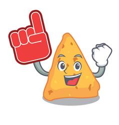 Foam finger nachos mascot cartoon style vector