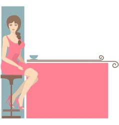 girl and coffee vector image