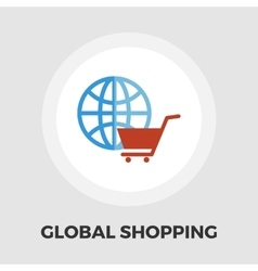 Global shopping flat icon vector