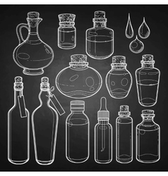 Graphic collection of glass bottles vector image