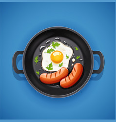 Grilled egg and sausage vector