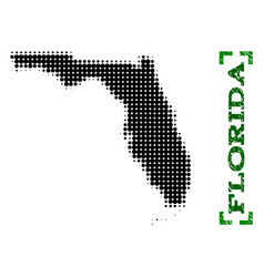 halftone map of florida state and grunge caption vector image