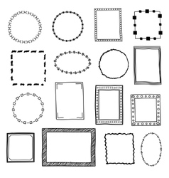 Hand drawn doodle frames borders set vector