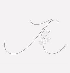 Hand lettering floral m monogram and logo vector