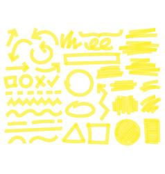 highlight marker strokes yellow checkmark marks vector image